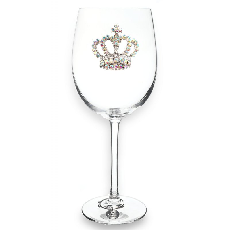 The Queen's Jewels Aurora Borealis Crown Stemmed Wine Glass