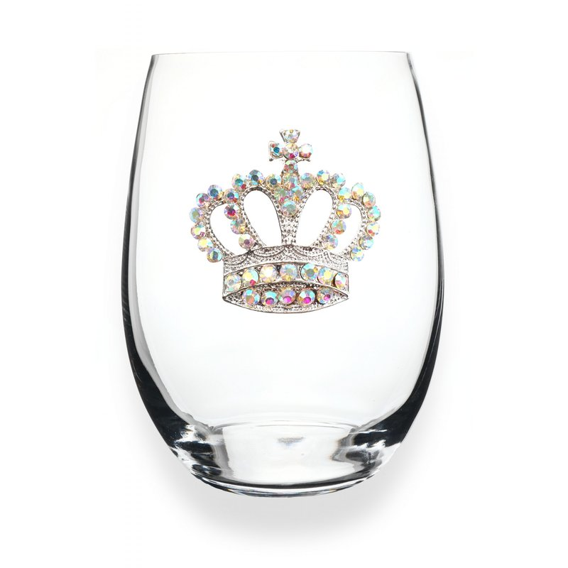The Queen's Jewels Aurora Borealis Crown Jeweled Stemless Wine Glass