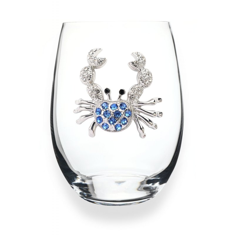 The Queen's Jewels Blue Crab Stemless Wine Glass