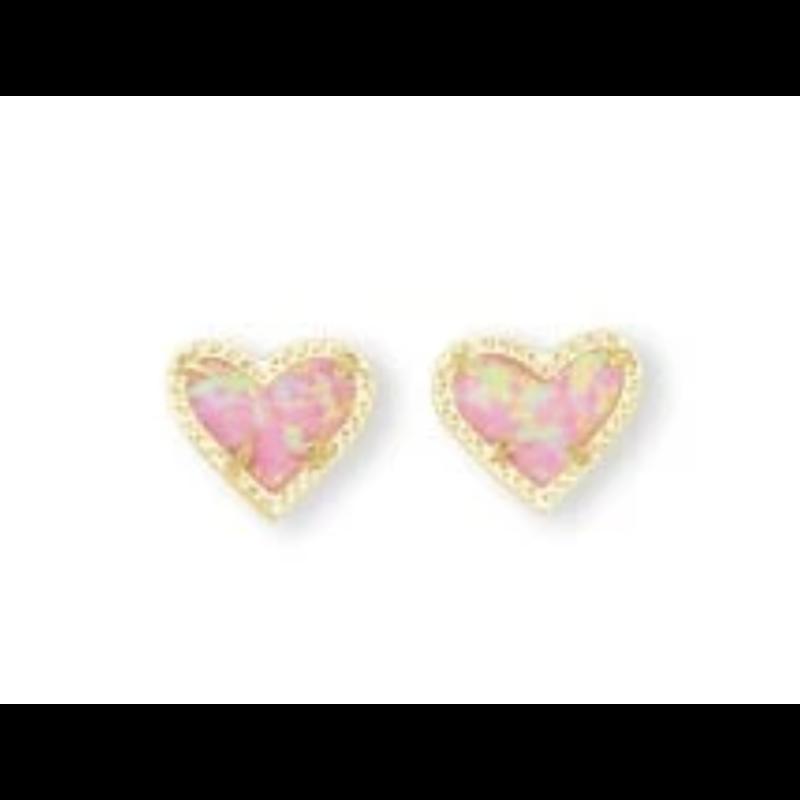 Kendra Scott Designs Kendra Scott Ari Heart Gold Lt Pink Opal Earrings
