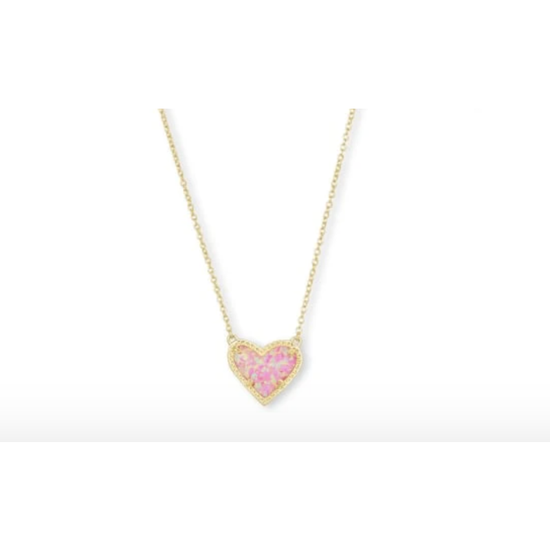 Kendra Scott Designs Kendra Scott Ari Heart Gold Lt Pink Opal Necklace