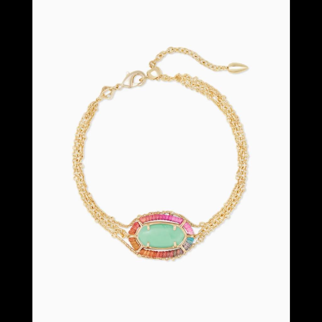 Kendra Scott Kendra Scott Threaded Elaina Multi Strand Gold Bracelet - Mint Magnesite