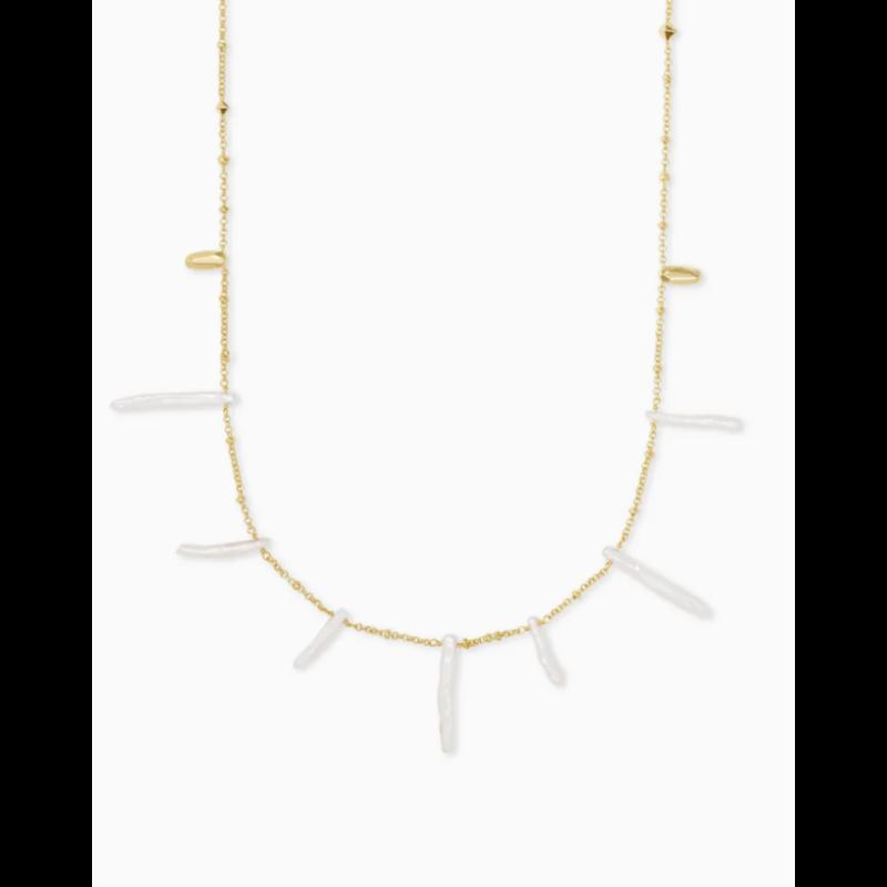 Kendra Scott Kendra Scott Eileen Long Strand Necklace - Gold White Pearl