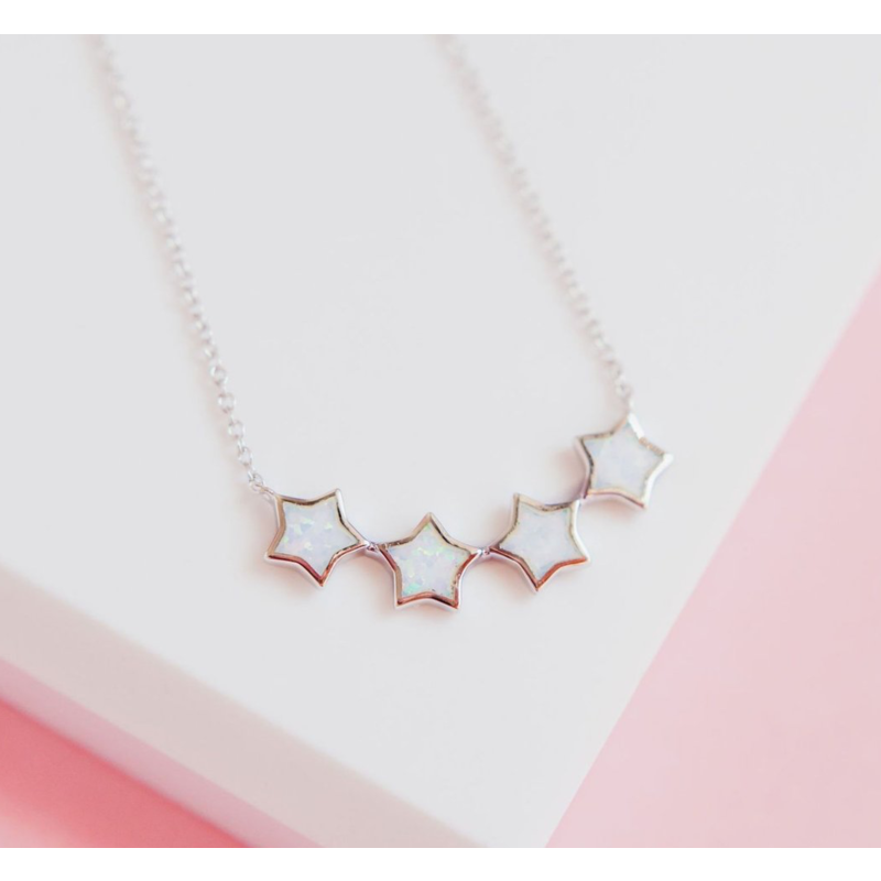 Chloe & Lois Starry Night  Necklace in White Opal