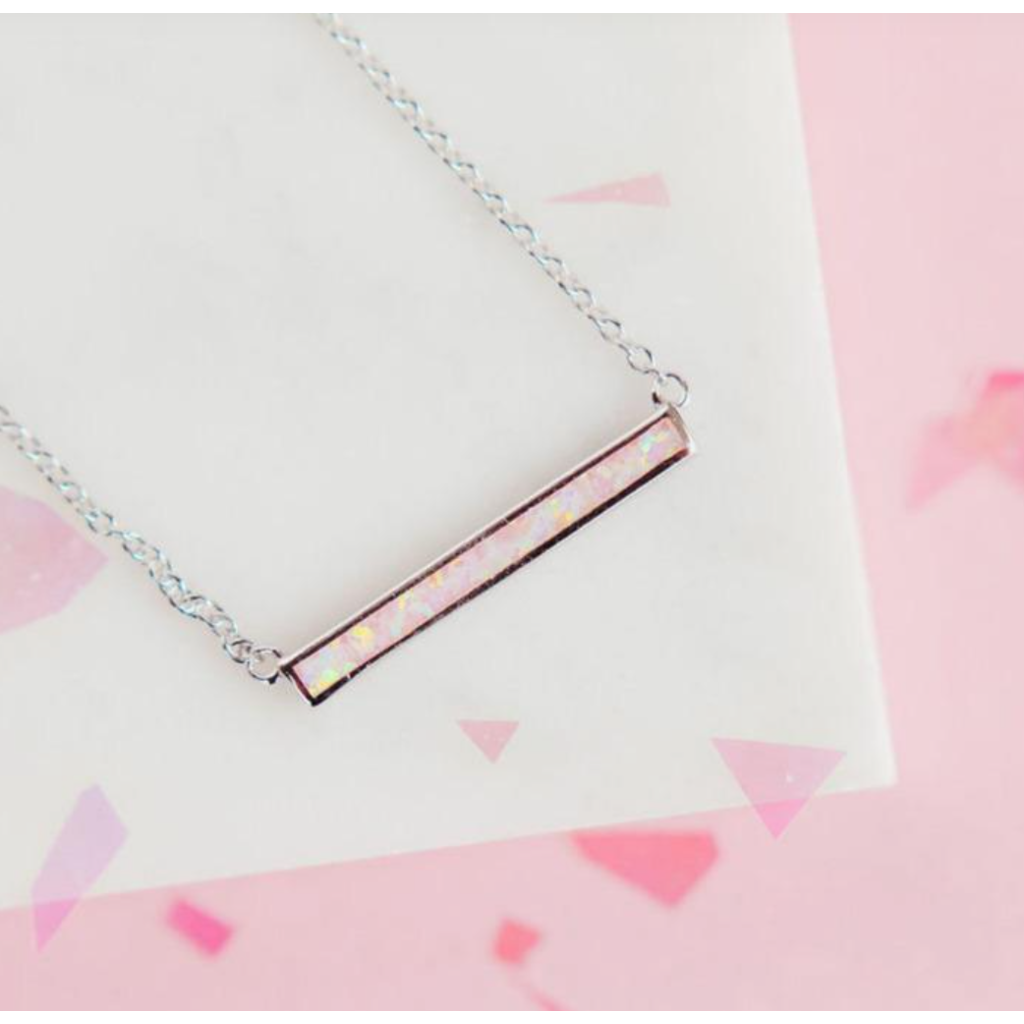 Chloe & Lois Chloe & Lois Cotton Candy Pink Opal Bar Necklace