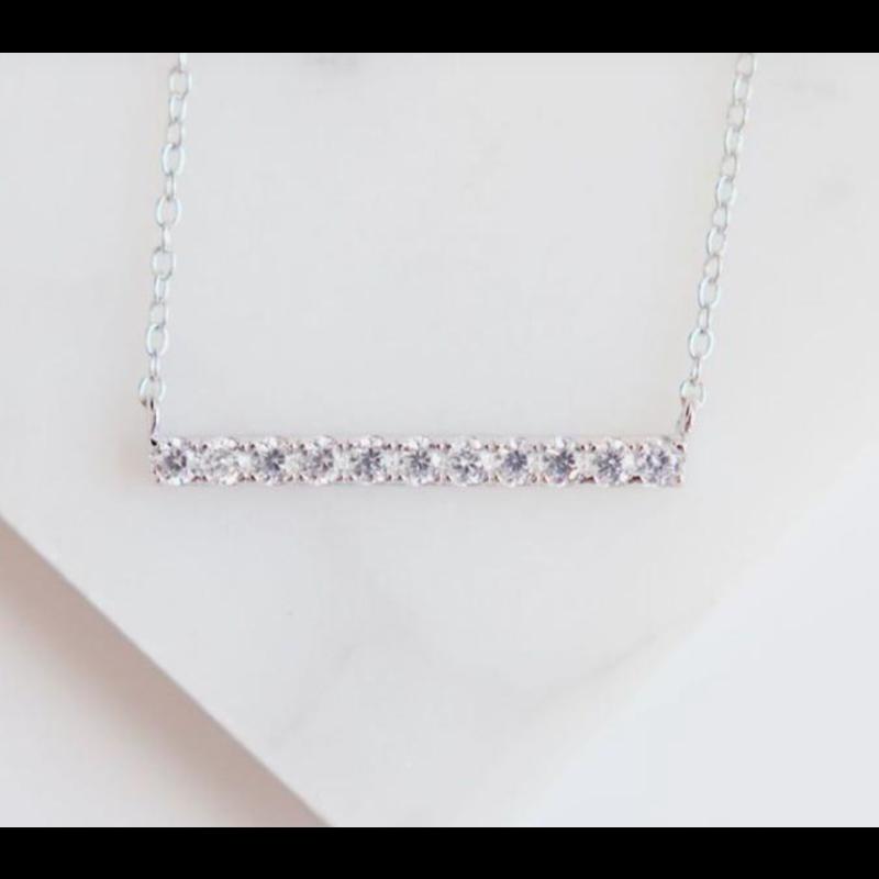 Chloe & Lois Sterling Silver Pavé Bar Layer Necklace
