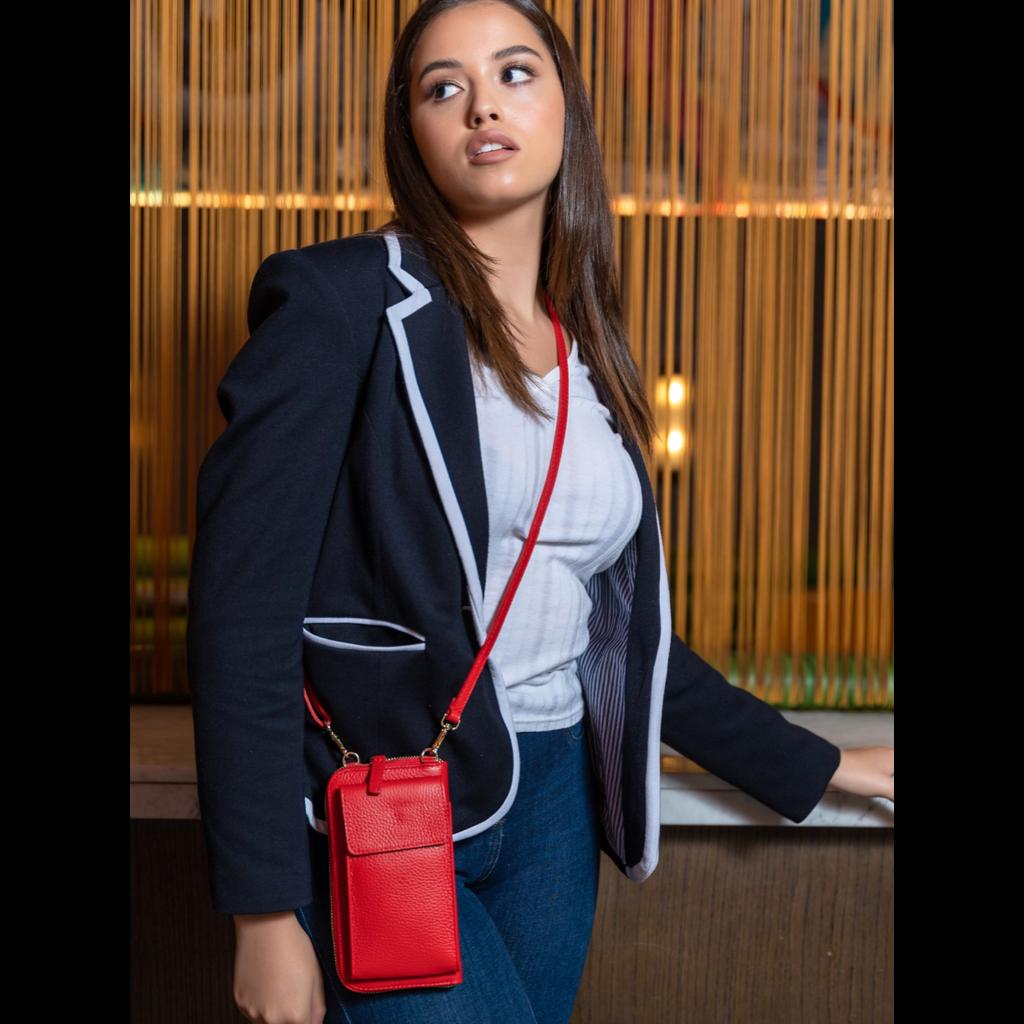 Handbag Elie Beaumont Phonebag in Red Leather