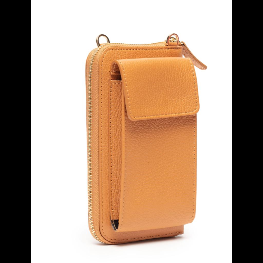 Handbag Elie Beaumont Phonebag in Tan Leather