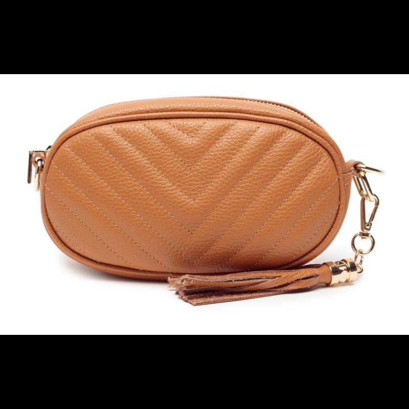 Handbag Pebble Bag in Tan Leather