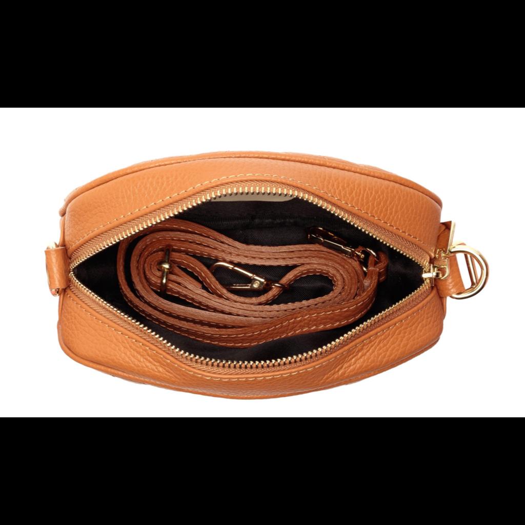 Handbag Elie Beaumont Pebble Bag in Tan Leather