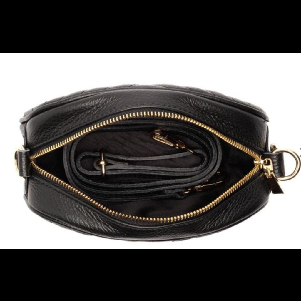 Handbag Elie Beaumont Pebble Bag in Black Leather