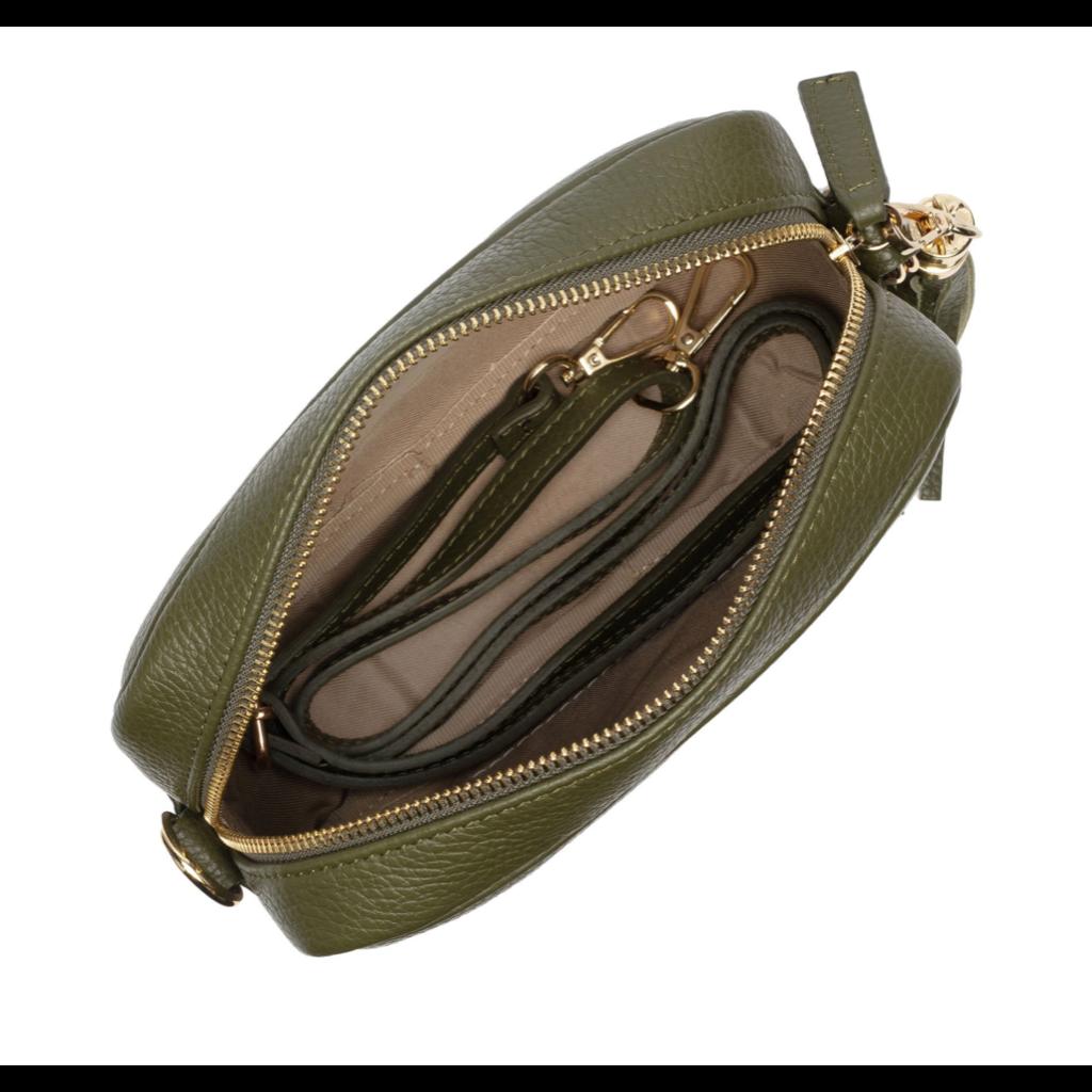 Handbag Elie Beaumont Crossbody Bag in Olive Leather