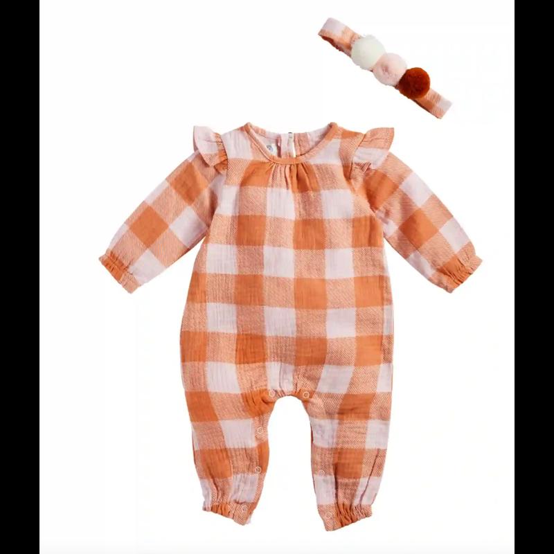 Mud Pie Orange Plaid Baby Bodysuit with Matching Headband - 3-6M