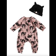 Mud Pie Mud Pie Pink Cat One-Piece & Hat Set 0-3 Months