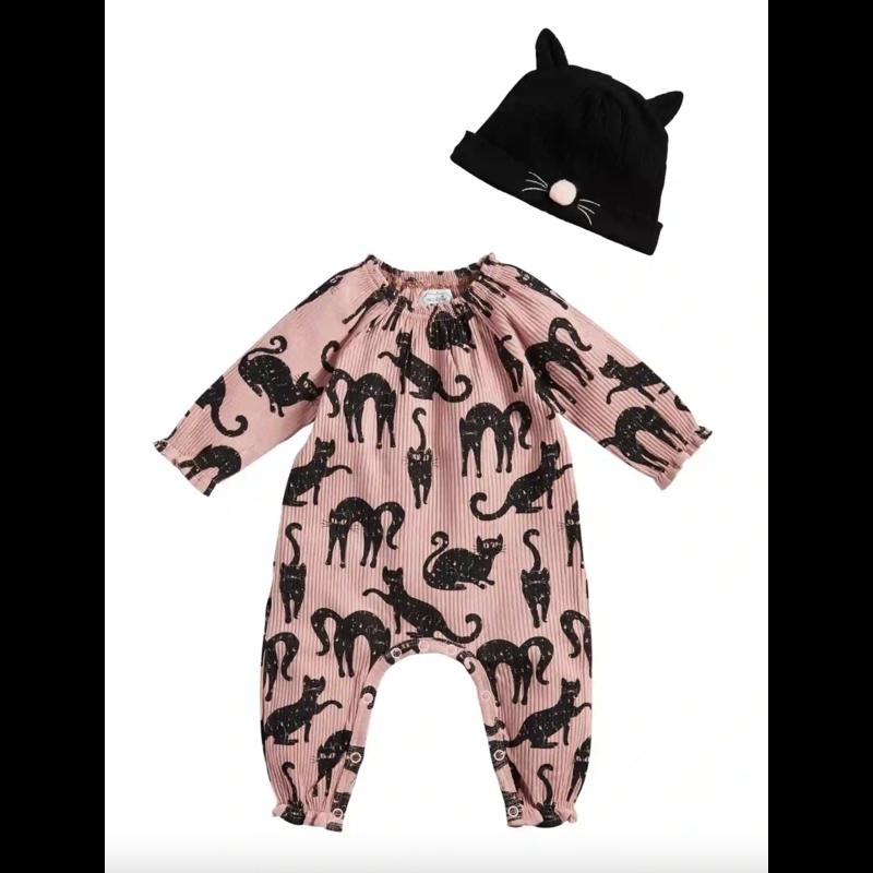 Mud Pie Pink Cat One-Piece & Hat Set  0-3 Months