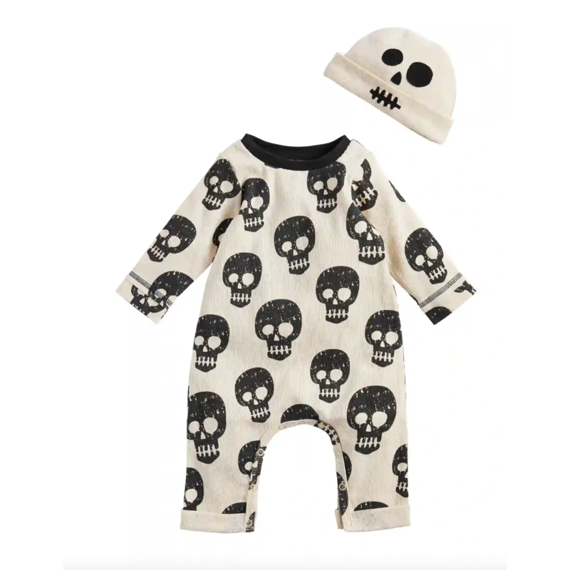 Mud Pie Skeleton One-Piece & Hat Set 0-3 Months