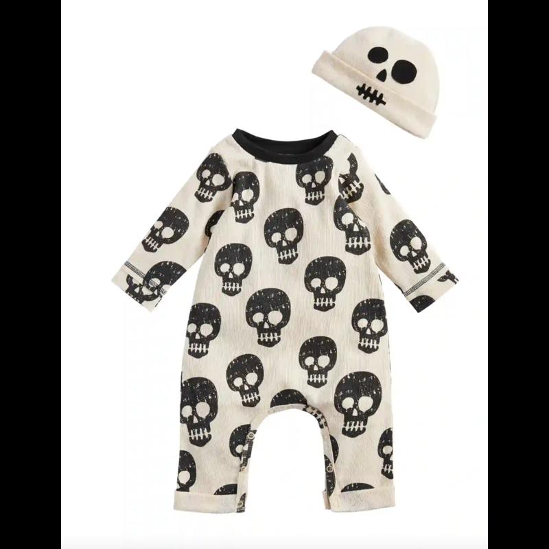 Mud Pie Skeleton One-Piece & Hat Set 6-9 Months