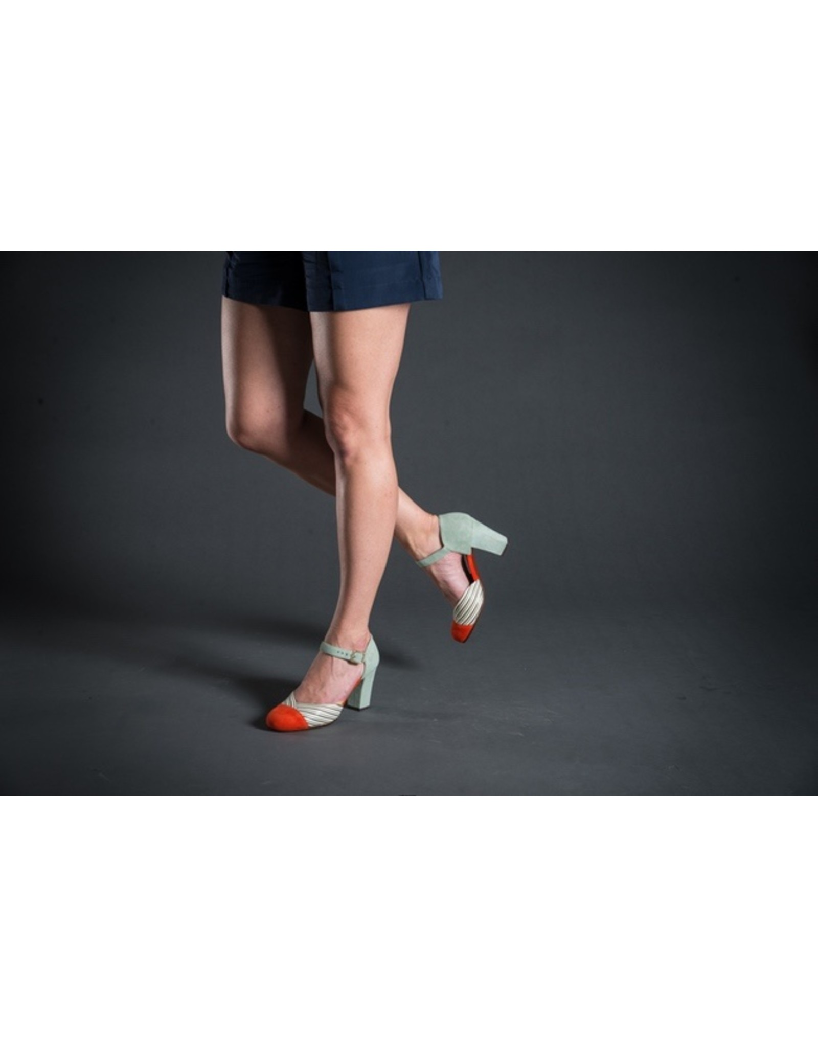 Chie Mihara Ankle Strap Striped Heel