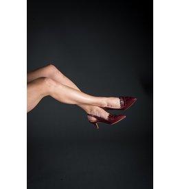 Lorraci Folded Pointed Toe Sling Back Kitten Heel