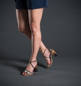 Lorraci Cross Ankle Wood Heel Heart Sandal