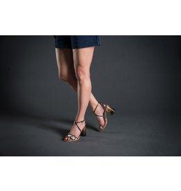 Lorraci Cross Ankle Wood Heel Heart Sandal