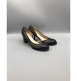 Lorraci Round Toe Wood Heel Mesh Pump
