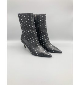 Carrano Mid-Calf Kitten Heel Studded Leather Boot