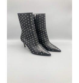 Mid-Calf Kitten Heel Studded Leather Boot