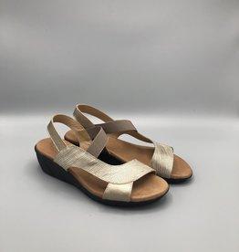Valeria's Valeria's Elastic Strap Leather Wedge Sandal