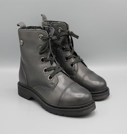 Shalo Shalo Side Zip Lace Up Leather Combat Boot