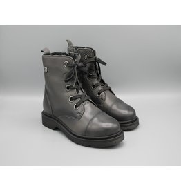 Side Zip Lace Up Leather Combat Boot
