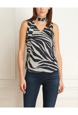 Iris Zebra V-Neck Blouse w/Removable Tie