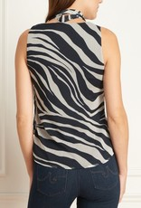 Iris Iris Setlakwe Zebra V-Neck Blouse w/Removable Tie