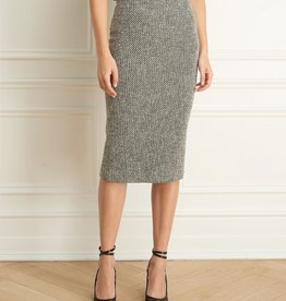 Iris Boucle Tweed Mid Calf Slim Skirt