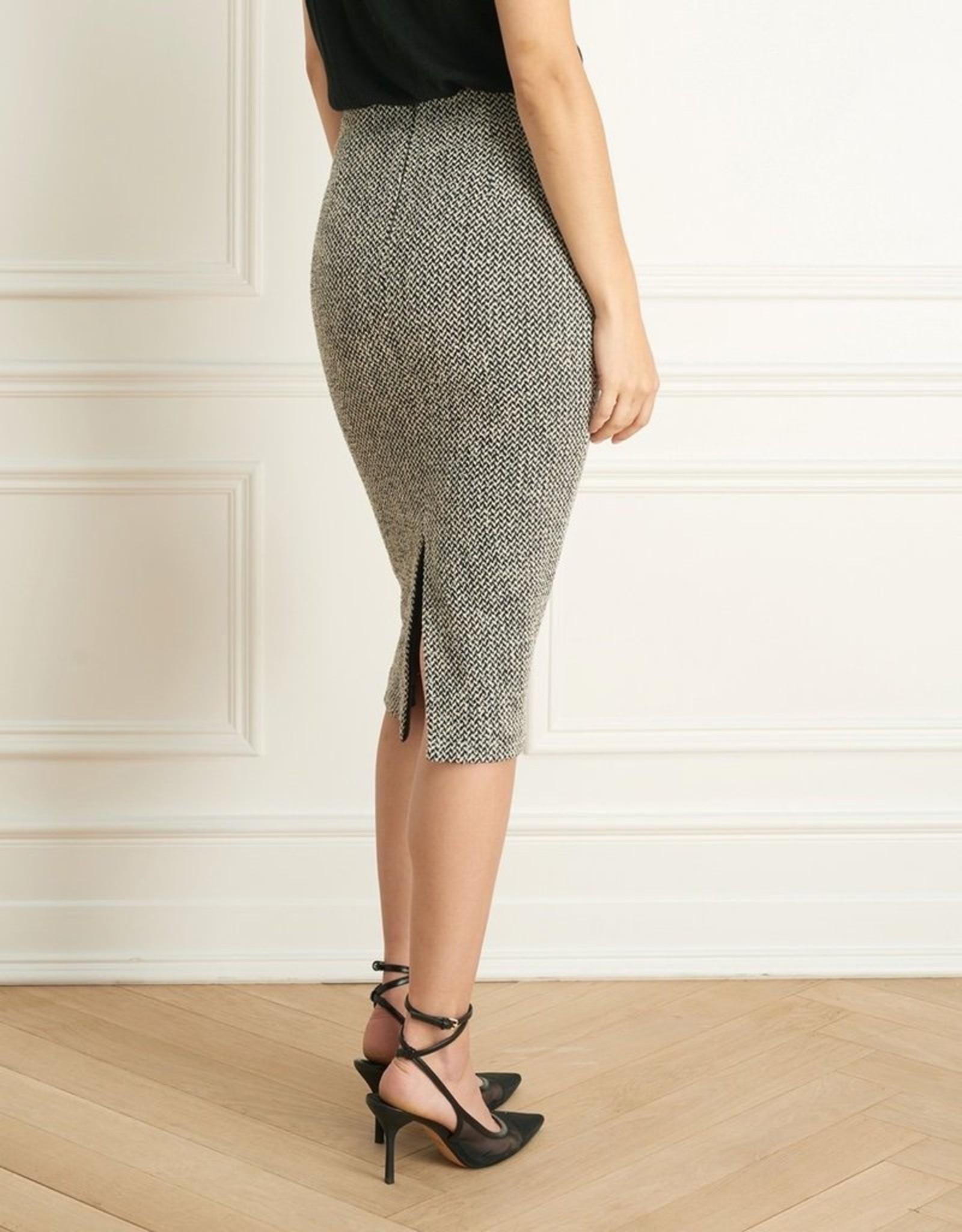Iris Boucle Tweed Mid Calf Slim Skirt