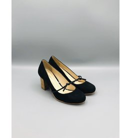 Lorraci Foot Tie Wood Heel Suede Pump