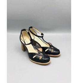 Lorraci Pieced T-Strap Round Toe Wood Heel Shoe