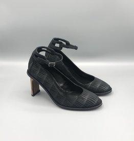 Thiron Wood Heel Almond Toe Ankle Strap Pump
