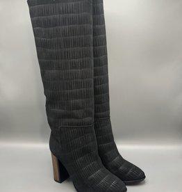 Thiron Wood Heel Slip-On Leather Knee-High Boot