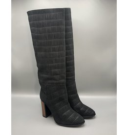 Thiron Wood Heel Slip-On Leather Knee-High Boot