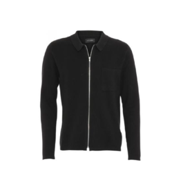 Clean Cut Full Zip Cotton Collared Cardigan