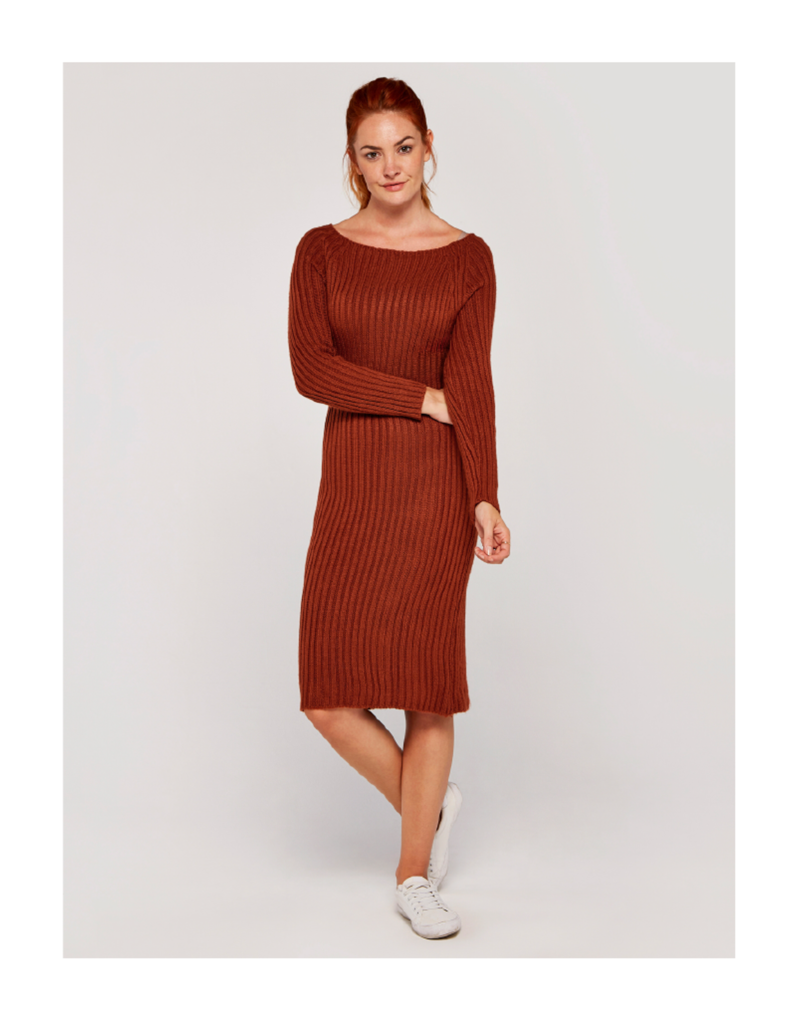 Apricot Rib-Knit Open Back Dress