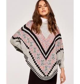 Apricot Aztec Poncho Style Sweater