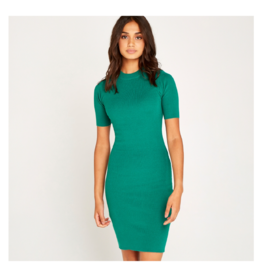 Apricot Mockneck Knitted Bodycon Dress