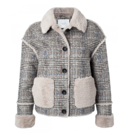 YaYa Plaid Shearling-Look Crop Jacket