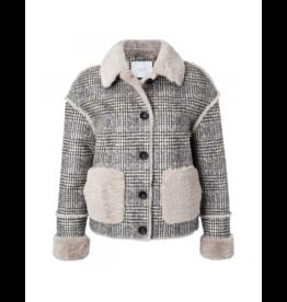 YaYa Plaid Shearling-Look Crop Jacket