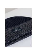 Dstrezzed Cotton Blend Tonal Stripe Rolled Toque-Navy