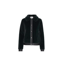 B. Young Cropped Leather & Fur Jacket