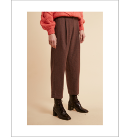 FRNCH Plaid HR Pleated Crop Pant (2 Colours Available)