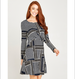 Apricot Geo Twisted Front Dress